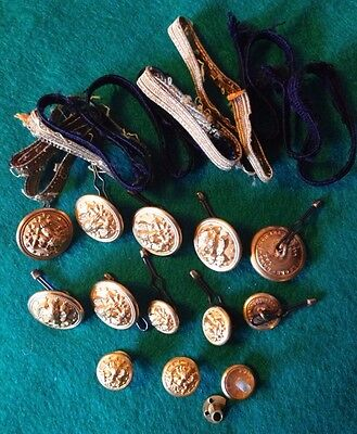 Military Brass Buttons Vintage Army +3 Hat Pins ,ribbing Lot Good Condition