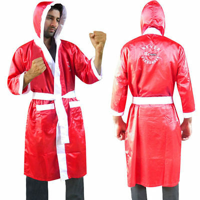 Boxing Gown Satin Robe Martial Art Boxing Uniform Children,Youth,Mens Red-White