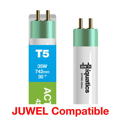 3 x iQuatics 35w JUWEL Compatible T5 Blue Actinic-Spectrum peaks at 420nm
