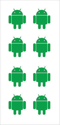 Sheet of 8 Android Stickers - Machine Cut Decals - Lots of Colors to Choose From