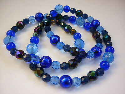 "VTG Austrian 27"" Crystal Bead Necklace French Blue/Cobalt/Carnival BOHEMIA 1950s"