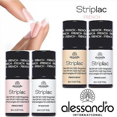 (€172,38/100ml) alessandro STRIPLAC FRENCH Nagellack WEIß MILKY, ROSA,BEIGE 8ml