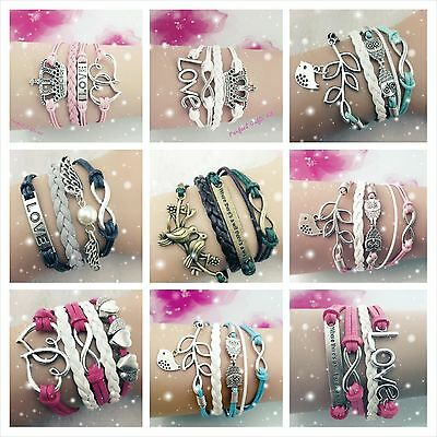Leather Friendship BFF Infinity Charm Best Friend Bracelet = Perfect Gift 4 U