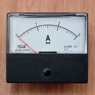 0- 3A DC Ammeter Amp Current Panel Meter Analogue Analog NEW