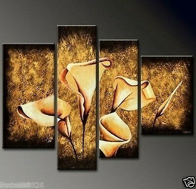 NEW 4pc MODERN ABSTRACT HUGE WALL ART OIL PAINTING ON CANVAS Flowers(no framed)