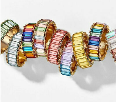 Made With Swarovski Crystal Elements Eternity Style Stacking Band Ring S/Steel