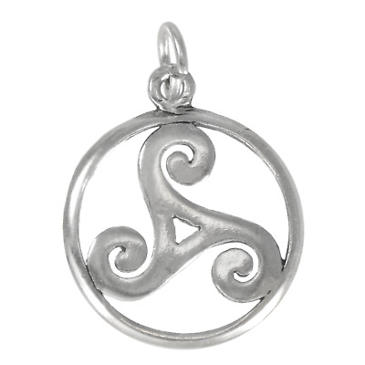 Celtic Open Trinity Knot Spiral Triskelion Sterling Silver Charm Pendant Jewelry