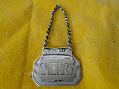 Decanter Lable, Sherry, Sterling Silver Cast Border, London 1963, Modern Shape