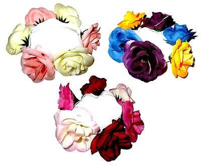 Rose Flower Hair Bun Scrunchies Headband Girls / Ladies