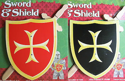 Wooden Sword & Shield - Medieval Knight Costume Accessory - Warrior Pretend Play