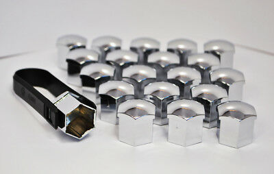 20 x 17MM HEX ALLOY WHEEL NUT BOLT COVERS CHROME + Removal Tool Fiat Panda