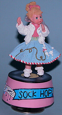 "Madame Alexander resin doll music box ""1950 Sock Hop"" #90750 poodle skirt 2000"