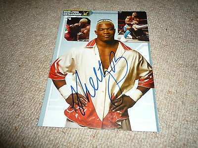 SHELTON BENJAMIN signed Autogramm 20x25 In Person WWE