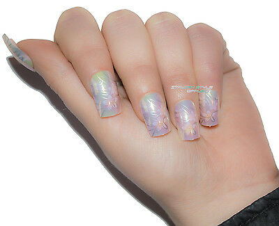 Tips Unghie Finte Decorate French Tip 12 Pz Perlate Rosa Bianco Giallo Fantasia