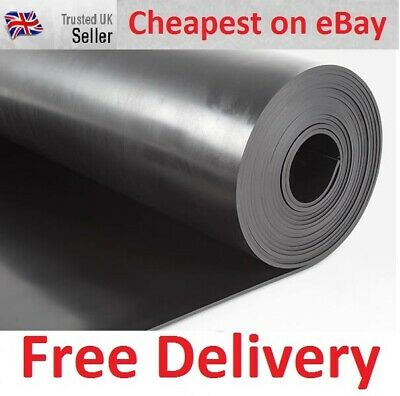 Black Solid Hard Neoprene Rubber Sheet Sheeting 1.2m x 1m x various thicknesses