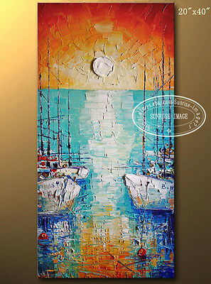OP756 Large Hand-made Modern Palette knife Abstract Oil Painting Boats/NO Frame