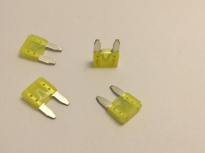 4 X 20 Amp Mini fuse Yellow 20A ATM Free shipping