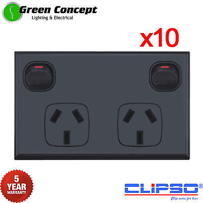 NEW 10 x Double Power Point Two Gang Socket Outlet Powerpoint Black Standard