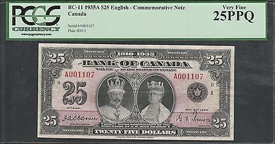 "Canada Bc-11 1935A $25 English Silver Jubilee ""king George V"" Pcgs 25 Ppq Wl5456"