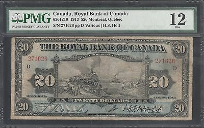 "Canada, Royal Bank Of Canada 1913 $20 ""train"" Pmg 12 Fine Wl5459"