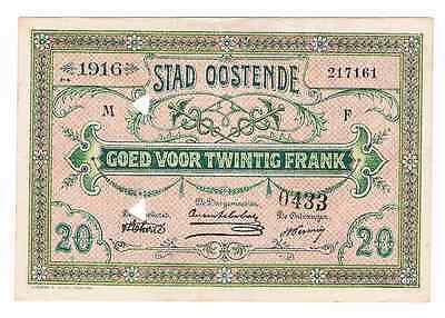 OOSTENDE  100 JAAR  WWI  : Belgium Emergency Issue  20 Frank   21/06/1916   SPL