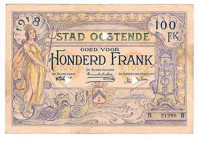 OOSTENDE  100 JAAR  WWI  : Belgium Emergency Issue  100 Frank   1918   SPL