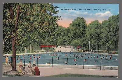 Vintage Postcard The Swimming Pool at Matter Park in Marion, Indiana