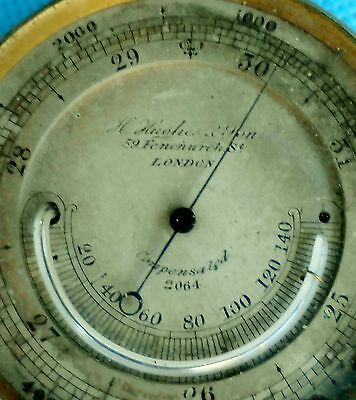 antique POCKET aneroid brass BAROMETER thermometer bevelled glass Hughes London