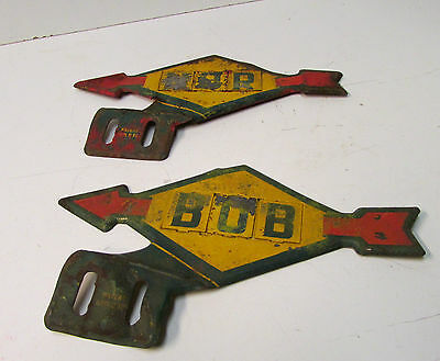2 Vintage and Rare Sunoco Metal Car Emblems - Patent Applied For -- See Pictures