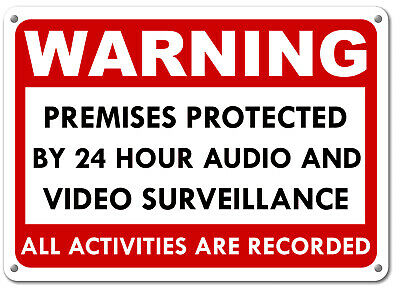 2 Warning These Premises Under 24 Hour Video Surveillance Security cctv Sign