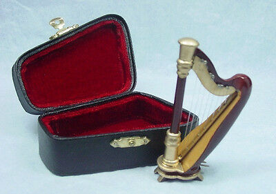 Dollhouse Miniature Music  1:12 Scale Small Harp with case Set #Z206