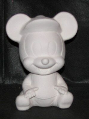 Ceramic Bisque Baby Mickey Mouse Bank Ready to Paint