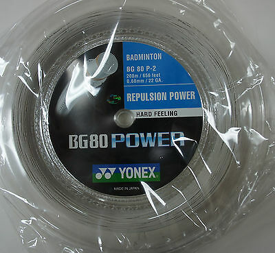 YONEX Badminton String BG80 Power  x 200 m, White, For Hard Hitting Players