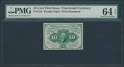 Fr1242 10¢ 1St Issue Fractional Currency S.e. W/ Monogram Pmg 64 Epq Br1194
