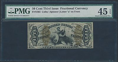 Fr1365 50¢ 3Rd Issue Fractional Currency Colby / Spinner Pmg 45 Epq Br1197