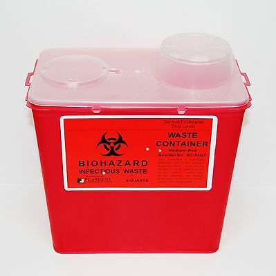 Dental Medical Lab Bio-Hazard Sharps Waste Container 8 Quarts Needles Disposal