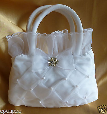 Wedding Dilly Bag Purse Bride Bridesmaid Ivory Organza Flower Girl 1St Communion