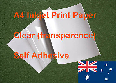 25 X A4 Clear Label Self Adhesive Sticker Inkjet Print Paper ( transparence )