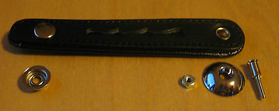 NEW accordion bellows strap clasp BLACK ITALy LEATHER  Italcinte 111 90mm centre