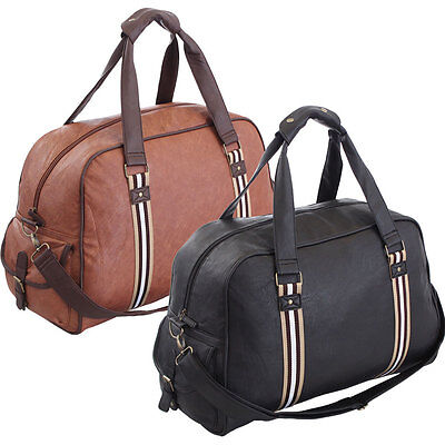 Large Faux Leather Bag Sports Gym Travel Golf Luggage Holdall Weekend Duffle New