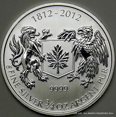 """2012, $1 Royal Canadian Mint - """"War of 1812"""" $1 3/4oz Silver ☆Reverse Proof☆"""