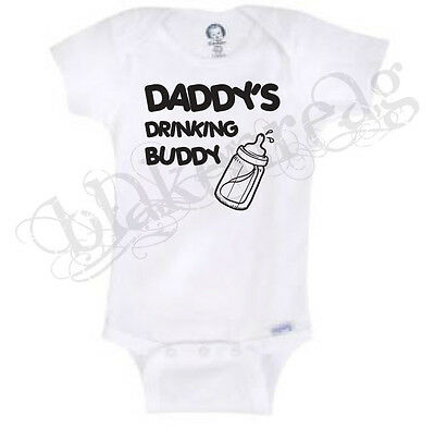Daddy's Drinking Buddy Funny Novelty Baby Onesie Boy Girl Clothes Bodysuit