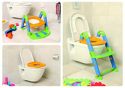 toilet trainer chair seat kidskit toddler potty child step up ladder fold 3 in 1