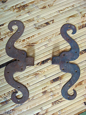 ❀Antique 1700's Pair Of Hinges Moustache Shape Window Door Wrought Iron Lot #3