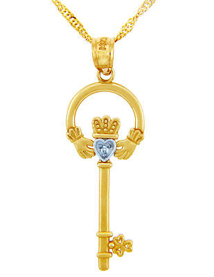 """Yellow Gold Claddagh Key Pendant 0.01ctw Round Diamaond with 18"""" Chain"""