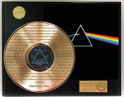 Pink Floyd Gold Lp Record Display Laser Etched W/ Lyrics Of Hit Song