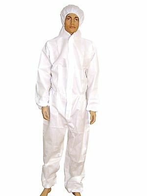 Disposable Polypropylene White or Blue Boiler suit Coverall Overall Lab coat