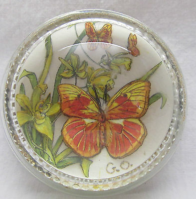 Vintage Glass Paperweight Round 3D Flowers & Butterflies Flower Butterfly Lily