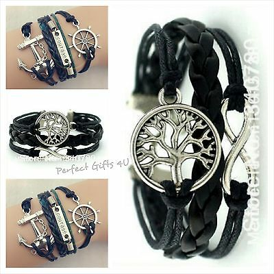 Boys Black Leather Friend Infinity Charm Bracelets - Perfect Gifts 4U