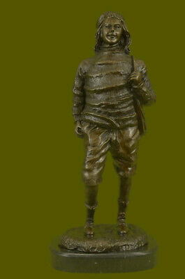 """Impressive 16"""" Solid Bronze Statue of a Young Ben Franklin on Marble Base Figure"""
